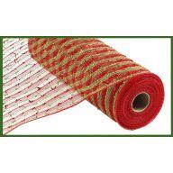 "10.5"" X 10yd PP / Folded Laser Foil Mesh - Red / Lime"