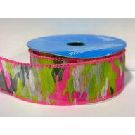 """1.5 """" X 10yd Wired Sheer Camouflage - Pink / Green"""