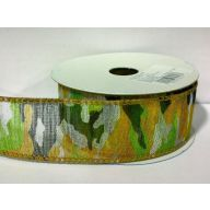 """1.5 """" X 10yd Wired Sheer Camouflage - Forest Green"""