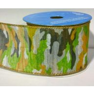"""2.5 """" X 10yd Wired Sheer Camouflage - Forest Green"""