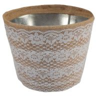 "7 "" Burlap Planter W Lace Cover"