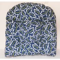 Single Chair Cushion - Dark Blue W / White Leaves