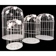 Set of 4 White Bird Cages
