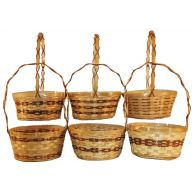 BAMBOO BASKET 6 STYLES ASSORTED-STAINED