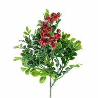 """X4 Boxwood Pick w/ Snow & Berries 11""""H - Green / Red"""