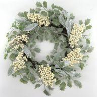 "20"" Christmas Wreath -Green / Cream / Brown"