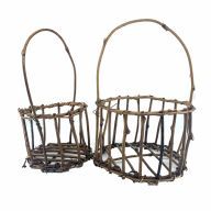 """S/2 Round Stick Basket w/ Handle - Large: 5.5""""H X 8""""D X 13""""Handle, Small: 5""""H X 6""""D X11.75""""Handle"""