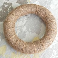"16 "" Burlap Wrapped Straw Wreath"