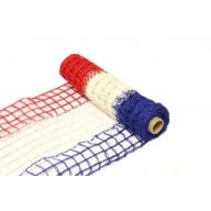 "10 "" X 5yd Wired Open Weave Burlap - Red / White / Blue"
