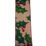 """4 """" X 10yd Wired Burlap Holly Berry"""