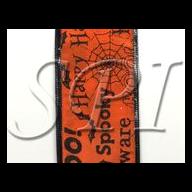 10 yd Satin Halloween Script - Orange / Black ( 2 sizes )