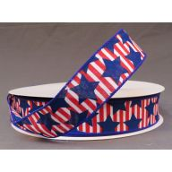 "1.5 "" x 50 yd Wired Stars and Stripes - Red / White / Royal"