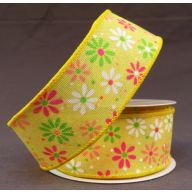 """1.5 """" x 10 yd Wired Spring Daisies"""