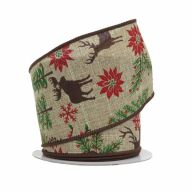 "2.5"" X 10yd Deer / Tree / Poinsettia / Snowflake - Natural / Green / Red / Brown"