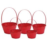 S / 5 Round Bamboo Basket w/ Liner - Red