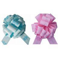 """10.5 """" Baby Girl & Baby Boy w / Teddy Bear Instant Pull Bow"""