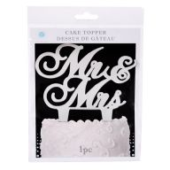 "5.4375 x 5.875 "" Victoria Lynn Mr. & Mrs. Cake Topper Silver Mirror"