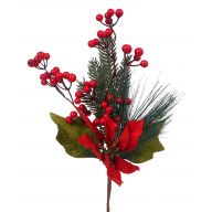 "17 "" Poinsettia Berry Pine Spray"