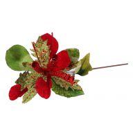 """17 """" Glitter Velvet Amaryllis Stem - Red / Green"""