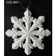 260 MM Glitter Snowflake w / Hanger - White