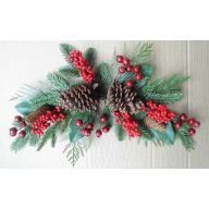 "24 "" Berry Swag w / Pine Cone Plastic Pine Cedar - Red"