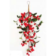 "24 "" Berry Teardrop w / Silk Leaf - Red"