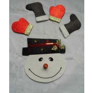 "11 "" Glitter Snowman Decor Kit - White / Black / Red / Green"