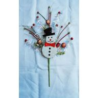 "30 "" Snowman Sequin Ball Twig Pick - Green /  Red"