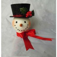 "7.5 "" Glitter Snowman With Black Hat - White"