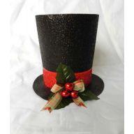 """7 """" H X 7.5 """" Glitter Top Hat - Black / Red"""