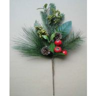 "20 "" Berry w / Pine Cone Pine Cedar Spray"