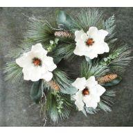 "22 "" Magnolia Wreath PVC Pine Cedar Pine Cone"