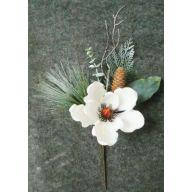 """18 """" Magnoila Pick w / PVC Pine / Pine Cone / Cedar - White"""