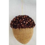 110 MM Glitter Burlap Hanging Acorn