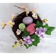 """2.25"""" X 5.25"""" Birdnest w/ Glitter Egg Berry Mini Flower"""