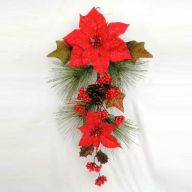 """24"""" Poinsettia Teardrop w/ Glitter Pine Cone Berry Pine Holly - Red"""