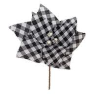 "8"" Lattice Cloth Poinsettia Pick"