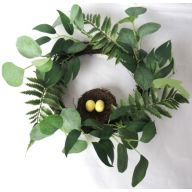 "15"" Vine Wreath w/ Fern Bird Nest & Eucalyptus"