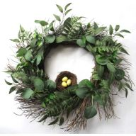 "22"" Sun Vine Wreath w/ Fern Bird Nest Eucalyptus"