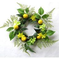 """15"""" Vine Wreath w/ Fern Lemon Hydrangea"""