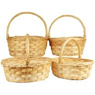 S/4 Oval Willow Basket w/Wood Bands - No Liners