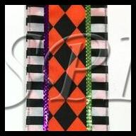 "2.5 "" X 10 Yd Wired Harlequin Ribbon - Orange / Black / White / Purple / Lime"