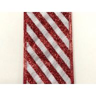 "2.5 "" x 50 yd Satin Glitter Candy Cane Stripes - White / Red (X501840-534)"