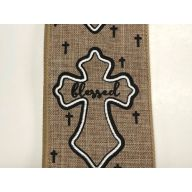 "2.5 "" x 50 yd "" Thankful, Grateful, Blessed "" Crosses - Natural / Black / White"