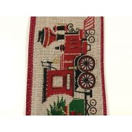 "2.5 "" x 50 yd Christmas Trains - Red / Green / Black / Natural"