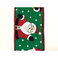"2.5 "" x 50 yd Waving Santa - Emerald / Red / Black / White"