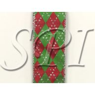 """Argyle Print 1.5 """" X 10 Yd Wired Ribbon - Red , Lime"""