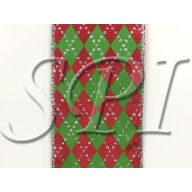 """Argyle Print 2.5 """" X 10 Yd Wired Ribbon - Red , Lime"""