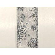 10 yd Satin Glitter Snowflakes - White / Silver
