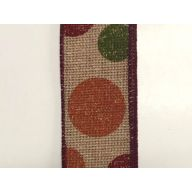 """1.5 """" x 10 yd Stamped Fall Dots - Natural / Moss / Burgundy / Orange"""
